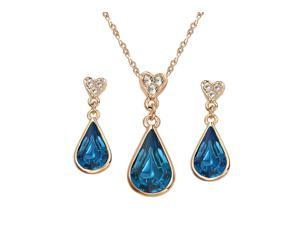 Yoursfs 18K Rose Gold Plated Colorful Raindrop Crystal Necklace And Earring Jewelry Use Blue Swarovski Crystal Bridal Sets