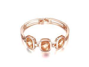 Yoursfs 18K Rose Gold Plated 3-Crystal Crown Bracelet Used Champagne Swarovski Crystal Bangle