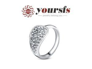 Yoursfs 18K White Gold Plated Full Crystal Leaf Ring Use Silver Swarovski Crystal Wedding Ring