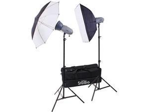 RPS Studio RS-SR300DK 600 Watt / Second Portable 2-Monolite Lighting Kit with 2 Strobes & Reflectors, 1 Softbox, 1 Umbrella, 2 Stands, Infrared Trigger & Case
