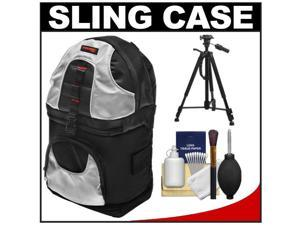 Precision Design PD-BP2 Deluxe Sling Digital SLR Camera Backpack Case (Black/Silver) with Tripod + Cleaning Kit