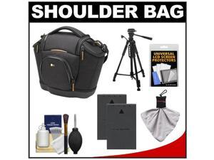 Case Logic Digital SLR Medium Shoulder Bag/Case (Black) (SLRC-202) with (2) BLS-1 Batteries + Tripod + Accessory Kit