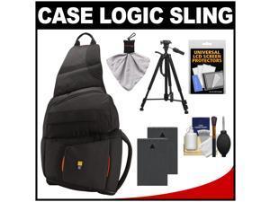 Case Logic Digital SLR Sling Camera Bag/Case (Black) (SLRC-205) with (2) BLS-1 Batteries + Tripod + Accessory Kit