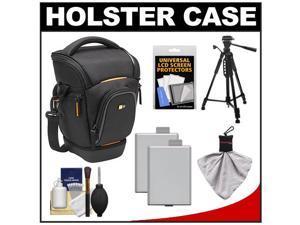 Case Logic Digital SLR Zoom Holster Camera Bag/Case (Black) (SLRC-201) with (2) LP-E5 Batteries + Tripod + Accessory Kit
