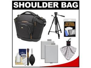 Case Logic Digital SLR Medium Shoulder Bag/Case (Black) (SLRC-202) with (2) LP-E5 Batteries + Tripod + Accessory Kit