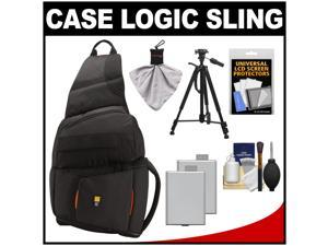 Case Logic Digital SLR Sling Camera Bag/Case (Black) (SLRC-205) with (2) LP-E5 Batteries + Tripod + Accessory Kit