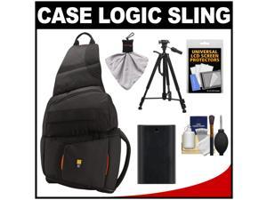 Case Logic Digital SLR Sling Camera Bag/Case (Black) (SLRC-205) with LP-E6 Battery + Tripod + Accessory Kit