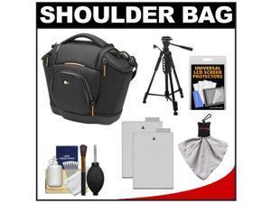 Case Logic Digital SLR Medium Shoulder Bag/Case (Black) (SLRC-202) with (2) LP-E8 Batteries + Tripod + Accessory Kit