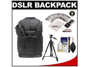 """Vivitar Series One Digital SLR Camera/Laptop Sling Backpack - Small (Black) Holds Most 14'"""" Laptops with 58"""" Tripod + Camera & Laptop Cleaning Kits"""