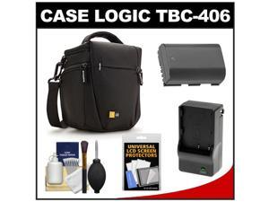 Case Logic TBC-406 Digital SLR Camera Holster Case (Black) with LP-E6 Battery & Charger + Accessory Kit for Canon EOS 6D, 7D, 5D Mark II III