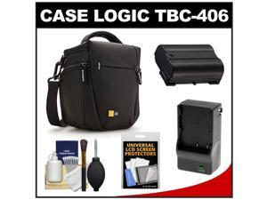 Case Logic TBC-406 Digital SLR Camera Holster Case (Black) with EN-EL15 Battery & Charger + Accessory Kit for D7000, D7100, D600, D800