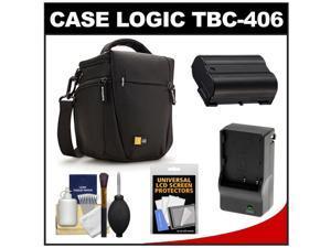 Case Logic TBC-406 Digital SLR Camera Holster Case (Black) with EN-EL15 Battery & Charger + Accessory Kit for D7000, D7100, D600, D800