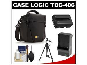 Case Logic TBC-406 Digital SLR Camera Holster Case (Black) with NP-FM500H Battery & Charger + Tripod + Kit for Sony Alpha A57, A58, A65, A77, A99
