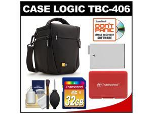 Case Logic TBC-406 Digital SLR Camera Holster Case (Black) with 32GB Card + LP-E8 Battery + Accessory for Rebel T3i, T4i, T5i