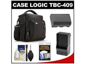 Case Logic TBC-409 Digital SLR Camera Shoulder Case (Black) with LP-E6 Battery & Charger + Accessory Kit for Canon EOS 6D, 7D, 5D Mark II III