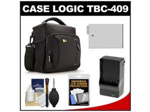 Case Logic TBC-409 Digital SLR Camera Shoulder Case (Black) with LP-E8 Battery & Charger + Accessory Kit for Rebel T3i, T4i, T5i