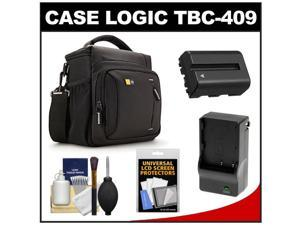 Case Logic TBC-409 Digital SLR Camera Shoulder Case (Black) with NP-FM500H Battery & Charger + Accessory Kit for Sony Alpha A57, A58, A65, A77, A99