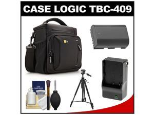 Case Logic TBC-409 Digital SLR Camera Shoulder Case (Black) with LP-E6 Battery & Charger + Tripod + Kit for Canon EOS 6D, 7D, 5D Mark II III