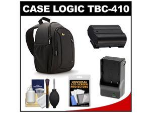 Case Logic TBC-410 Digital SLR Camera Sling Case (Black) with EN-EL15 Battery & Charger + Accessory Kit for D7000, D7100, D600, D800