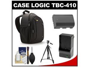 Case Logic TBC-410 Digital SLR Camera Sling Case (Black) with LP-E6 Battery & Charger + Tripod + Kit for Canon EOS 6D, 7D, 5D Mark II III