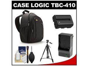 Case Logic TBC-410 Digital SLR Camera Sling Case (Black) with NP-FM500H Battery & Charger + Tripod + Kit for Sony Alpha A57, A58, A65, A77, A99