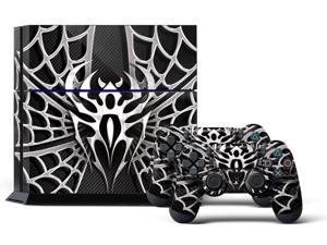 Sony PS4 PlayStation 4 Console Skin plus 2 Controller Skins -  Widow Maker Chrome & Black