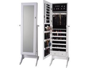 2-Drawers Mirrored Jewelry Cabinet W/Stand Mirror Amoire Organizer Storage Box