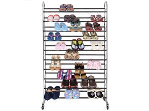 BestMassage 50 Pair Free Standing Chrome Metal 10 Tier Shoe Tower Rack