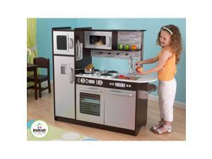 KidKraft Uptown Espresso KITCHEN Refrigerator Toddler Kids Pretend Play Set Wood