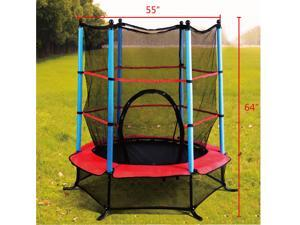 "Exercise 55"" Round Kids Youth Jumping Trampoline W/ Safety Pad Enclosure Combo"