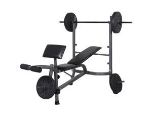 Weight Lifting Fitness Bench with Barbell and Weights