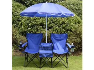 Folding Double Picnic Camping Chair with Umbrella Table Cooler Beach