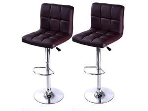 2 Pieces Adjustable Brown PU Leather Bar Stools
