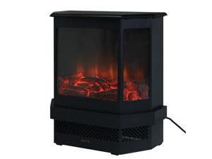 """Adjustable Electric Fireplace Heater 1500W Tempered Glass Free Standing 23"""""""