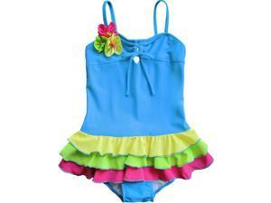 Isobella & Chloe Little Girls Cobalt Blue Ruffle Flower 1 Pc Swimsuit 2T