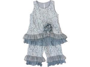 Isobella & Chloe Little Girls Gray Park Avenue 2 Pcs Pant Outfit Set 6X