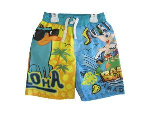 Phineas and Ferb Little Boys Yellow Sky Blue Printed Swim Wear Shorts 5-6