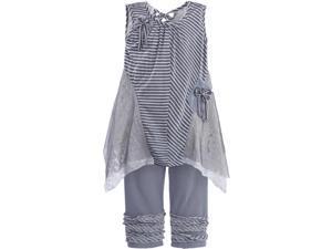 Isobella & Chloe Little Girls Slate Stripe Park Avenue Pant Outfit Set 3T