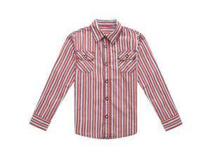 Richie House Little Boys Red Striped Lapel Collar Shirt Blouse 2/3