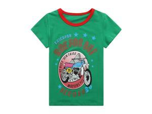 Richie House Little Boys Green Venice Vintage Motorcycle Printed Tee 5/6