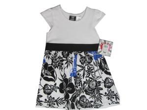 Hart Street Little Girls White Black Floral Printed Cap Sleeved Dress 3T