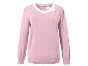 Richie House Big Girls Lilac Solid Color Bow Neckline Pullover Sweater 8/9
