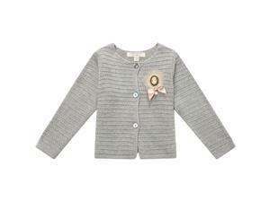 Richie House Big Girls Grey Bow Knit Brooch Button Cardigan Sweater 11/12