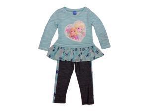 Little Girls Light Turquoise Elsa Anna Frozen Cotton Pants Toddler Outfit 2T
