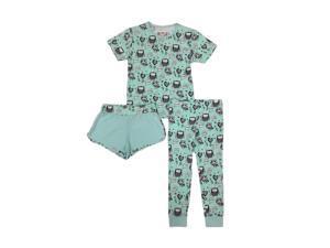 Kings n Queens Big Girls Mint Owl Print Shorts Tee Pant 3 Pc Pajama Set 12