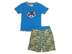 Kings n Queens Big Boys Blue Camo Raccoon Print Tee 2 Pc Shorts Set 14