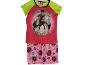 1D Big Girls Pink Green One Direction Band Print 2 Pc Sleep Wear Set 7-8