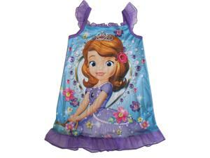 Disney Little Girls Purple Sofia The First Flutter Sleeve Nightgown 3T