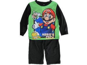 Super Mario Little Boys Green Cartoon Inspired Long Sleeved 2 Pc Pajama Set 4