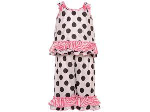 Laura Dare Little Girls Black White Dot Zebra Ruffle 2 Pc Pajama Set 6X